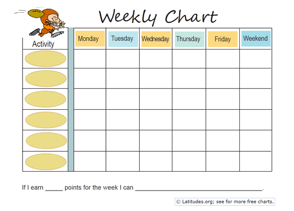 Weekly Football Behavior Chart - Behavioral Issues and Behavior ...